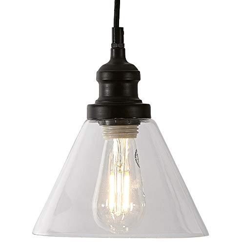 Clear Angled Glass Black Pendant Hanging Light Fixture Black Finish...