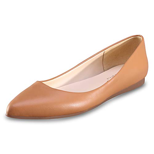 CZZPTC Leather Womens Flat Shoes Classic Casual Pointed Toe Ballet Flats Shoes for Women