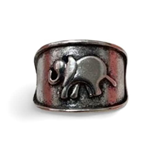Anillo de elefante de plata con diseño de estilo boimán, tamaño único, 17 mm de diámetro aprox, Metal no precioso,