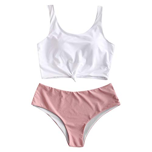 ZAFUL Women's Scoop Neck Tropical Leaf Knotted Two Pieces Tankini Set Swimsuit (Light Pink, S)