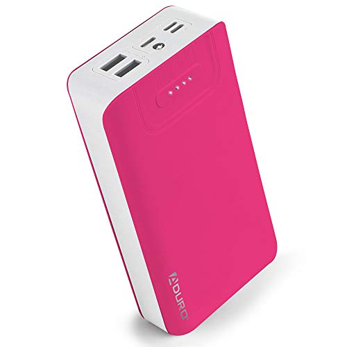 Aduro Portable Charger Power Bank 30,000mAh External Battery Pack Phone Charger for Cell Phones with Dual USB Ports for iPhone, iPad, Samsung Galaxy, Android, and USB Devices (Pink/White)