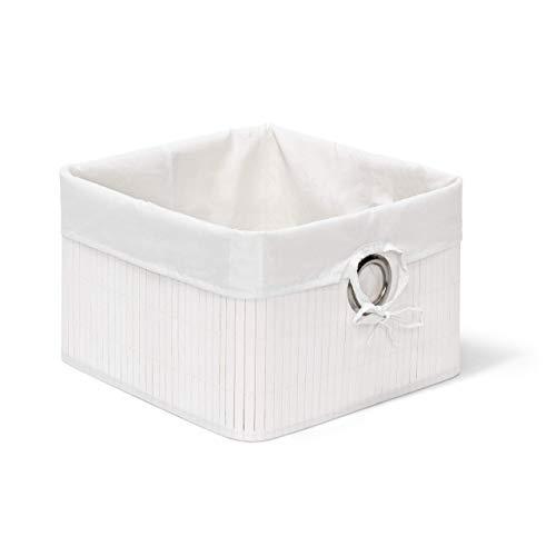 Relaxdays Caja de almacenaje, Funda Textil, Bambú, Rectangular, Accesorio Decorativo, 20x31x31 cm, Blanco, 20 x 31 x 31 cm