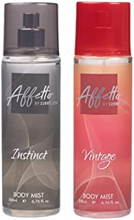 Affetto By Sunny Leone Instinct & Vintage Body Mist - For Women 200ML Each (400ML, Pack of 2)