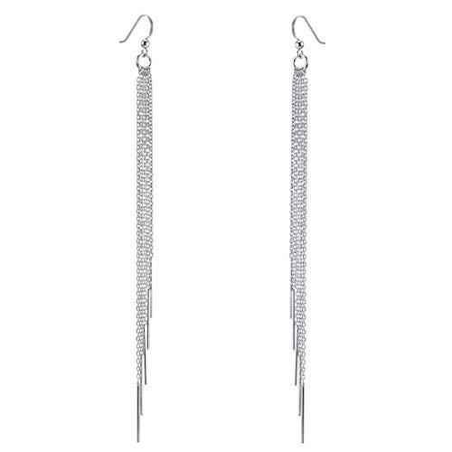 MATERIA Damen Ohrringe 925 Silber hängend 6x140mm Ohrhänger lang XXL Ohrschmuck mit 5 Pendel Stäbchen inkl. Box #SO-47