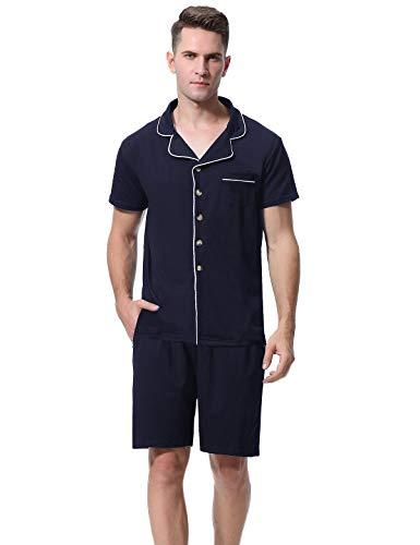 Abollria Pigiama Uomo Estivo in Cotone, Pigiama Uomo Corto Due Pezzi Scollo a V con Maniche Corte in Cotone (XL, Blu Navy)
