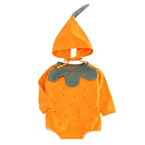 Vêtements Set + Chapeau (3M-24M) Veste Citrouille à Manches Longues pour Enfants Infantile bébé Automne Body Citrouille Impression Barboteuse Chapeau Tenues