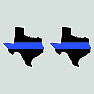 Two Pack Texas State Shaped Thin Blue Line Sticker Self Adhesive Vinyl Decal FA Graphix TX