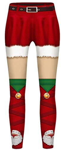 Silver Basic Unisex Hose Weihnachten Muster Push Up Yogahosen Stretch Skinny Leggins Christmas Druck Sport Jogginghose,rot-grün 2,L-2