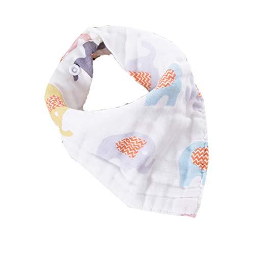 IUwnHceE Bebé de la Historieta del bebé triángulos Vajilla Babero Absorbente estupendo Toalla orgánica Baba bebé Vajilla Baberos para niños y niñas (Elefante)