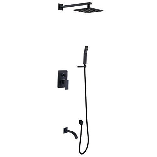BlackBrass,Shower System with High Pressure 8 Inch Square Rainfall Shower HeadHandheld Shower Head Tub Spout and Shower Faucet Valve Bathroom Luxury Rain Mixer Shower Combo Set Wall Mounted
