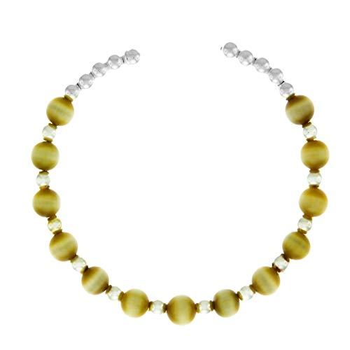 Córdoba Jewels | Pulsera en Plata de ley 925 con diseño Brazalete Niña Ojo Tigre