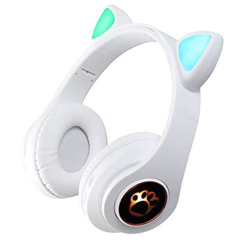 HUJIN B39 Linda Oreja de Gato LED Luminoso Auriculares Inalámbricos con Micrófono Auriculares Estéreo Bluetooth Bonitos Auriculares para Niños Y Niñas