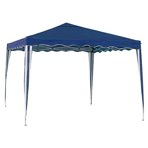 Carpa Cenador Gazebo Plegable con ventilación Superior de Acero de 300x300x250 cm (Azul)
