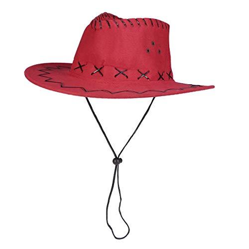 Amosfun Sombrero de Vaquero Occidental Sombrero de Pistolero Niños Sombrero Tejano Vestido de Fiesta Accesorio Rojo