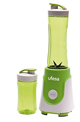 Ufesa BS1000 - Batidora de Vaso Personal, 250W, 0.6 L de Capacidad, Cuchillas de Acero Inoxidable Desmontables y aptas para Picar Hielo, sin BPA, 250 W, 0.6 litros, 2 Velocidades