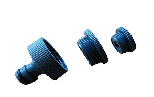 Kraanadapter 3-voudig voor wateraansluitingen met 1 inch, 3/4 inch en 1/2 inch buitendraad (douche, pomp, terras, waterkraan enz.), geschikt voor Gardena – voor het vullen van waterbed, aquarium, bloemenirrigatie, pomp aansluiten, enz.