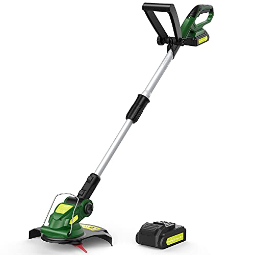 Cordless String Trimmer - Weed Trimmer/Eater Battery Powered, 20V Grass Trimmer with Battery & Charger, Electric Lawn Trimmer for Weed-Wacking, Ideal for Weed-Eating (3.0Ah Battery&Charger Included)