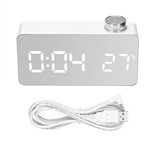 XXLYY Reloj Digital Pantalla Grande, Reloj Despertador LED con Puerto USB, Superficie de Espejo, Alarma de Viaje, 3 Niveles de Brillo (LUZ Blanca)