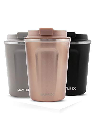 MAMEIDO Thermobecher Rosegold 350ml 0,35l - Kaffeebecher, Edelstahl doppelwandig isoliert, auslaufsicher, Coffee to go, Kaffee & Tee Isolierbecher Travel Mug