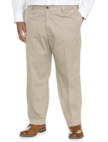 Amazon Essentials Men's Big & Tall Loose-Fit Wrinkle-Resistant Flat-Front Chino Pant fit by DXL, Stone, 58W x 30L