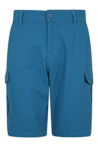 Mountain Warehouse Shorts di Lakeside Mens - Shorts durevoli del carico del Cotone della saia di 100%, Shorts durevoli di Estate, 6 Tasche - per Camminare, Funzionare Verde-Blu 60W
