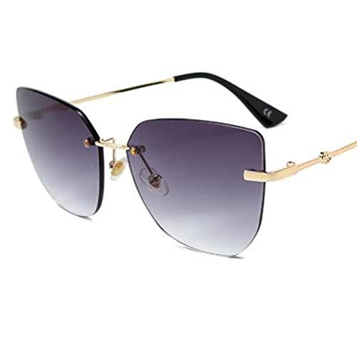 WANGZX Gafas De Sol Cuadradas con Forma De Ojo De Gato Sin Marco De Cristal para Mujer Gafas Graduadas De Moda De Metal para Mujer Uv400 C1Gradientgray