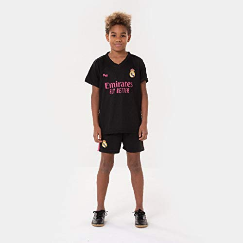 Morefootballs - Offizielles Real Madrid Alternatives Trikot Set für Kinder - 2020/2021-152 - Vollständiges Tenue mit Trikot und kurzer Hose - Fussball Shirt und Shorts Schwarz
