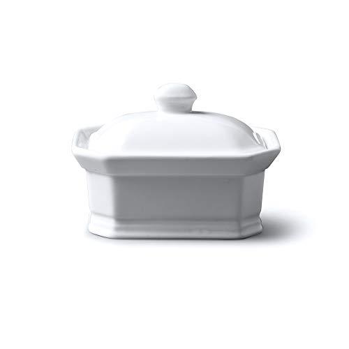 WM Bartleet & Sons Butter-/Terrine mit Deckel, weiß, 11x8x7cm