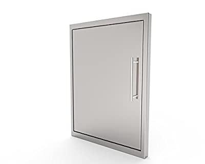 BBQ Access Door/New Style/Elegant/19 by 26 Inch/ 304 Grade Stainless Steel BBQ Island/Outdoor Kitchen Access Doors/Perfect Size for Propane Tank Storage/Includes Built in Paper Towel Holder