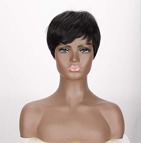 Perruque synthétique courte pour femme (noir naturel)