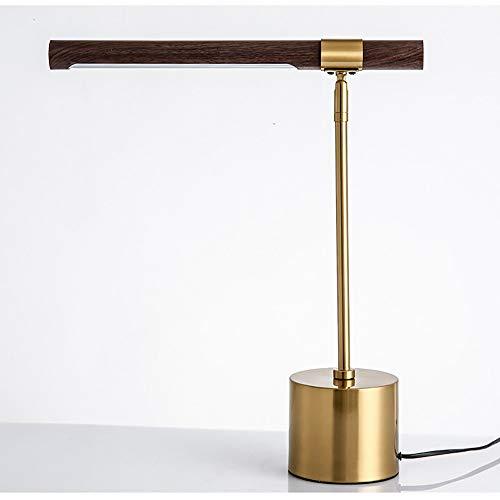 MINGRT WRQING Lámpara de Escritorio LED, Lámpara de Mesa de Protección para Los Ojos, Lampara de Mesita de Noche Moderna con Base de Metal, Interruptor de Pie (Color : Brass)