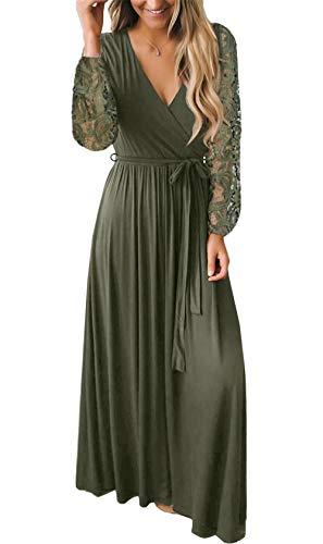 BesserBay V-Ausschnitt Abendkleid in Winkeloptik Spitzen Langärmeliges Kleid Olivgrün Medium