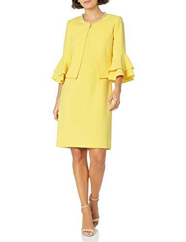 Tahari ASL Women's Petite Ruffle Sleeve Open Jacket Dress Suit, Lemon Yellow, 2P