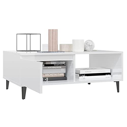 Foecy Mesita sofá Mesa café de salón Rectangular diseño Moderno de Madera MDF con Estante Blanco con Brillo, tamaño 90x60x35 cm
