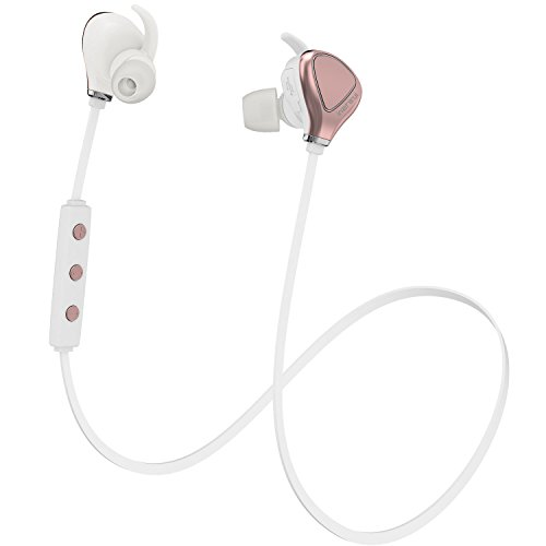 InzhiRui Best Wireless Sport Running Workout Earbud Sweat Proof Bluetooth Headphone, Cordless in Ear Neckband Headset for iPhone iPod Android Samsung Galaxy S7 (Rose Gold)