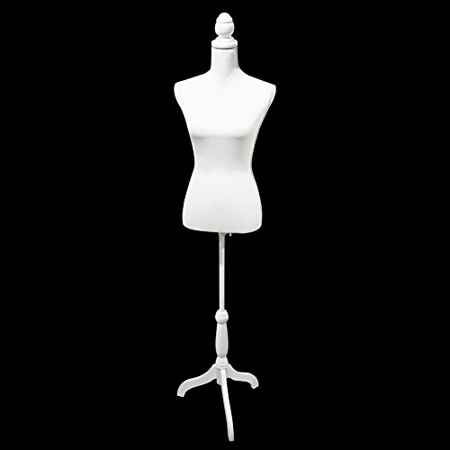 Female Mannequin Torso Body Dress Form with White Adjustable Tripod Stand for Clothing Dress Jewelry Display, White