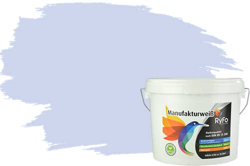 RyFo Colors Bunte Wandfarbe Manufakturweiß Lavendel 6l - weitere Violett Farbtöne und Größen erhältlich, Deckkraft Klasse 1, Nassabrieb Klasse 1