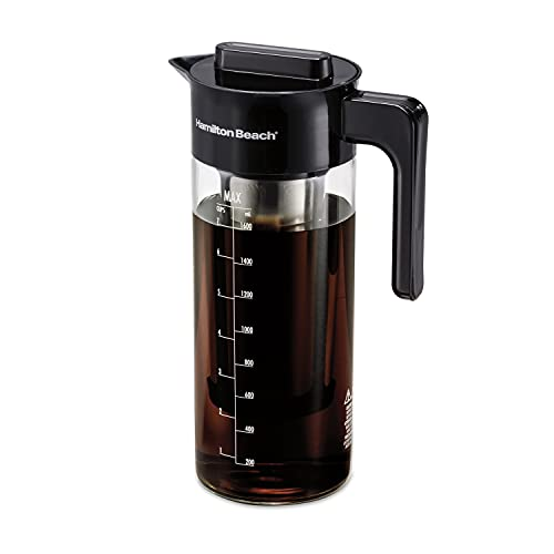 Hamilton Beach Cold Brew Iced Coffee Maker and Tea Infuser 1.7 L (57.5 oz.), Glass Pitcher with Removable Stainless Steel Filter