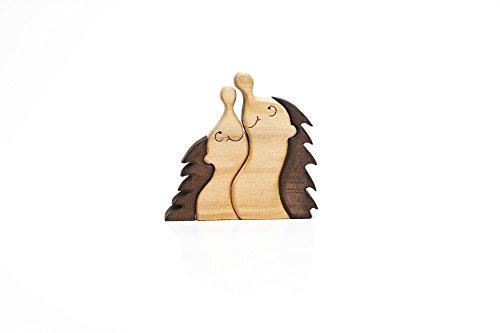 Holzdeko Herbstdekoration aus Holz Schreibtischfigur Handarbeit Holzkunst Igel Kurt + Conny