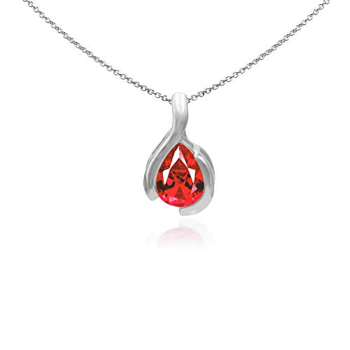 Sea of Ice Sterling Silver 9x7mm Pear Shape Created Ruby Pendant Necklace for Woman, 18 Inch