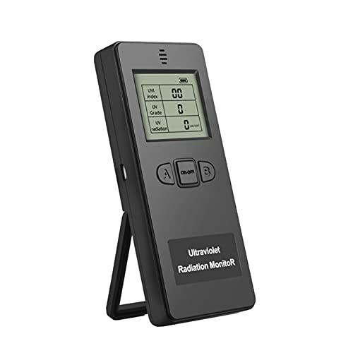 Detector de radiación, pantalla LCD UVI medidor portátil Ultraviole t Radiation Tester Radiometer Tester Equipo de protección para el hogar, oficina, interior y exterior