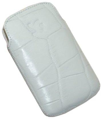 Suncase - Funda de cuero para HTC Wildfire S croco-Blanco