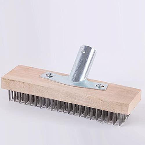 HEZHU Scopa metallica da 30 cm con presa per manico in legno, scopa da giardino