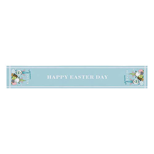 Moent Happy Easter Tablecloth,Creative Table Flag Polyester Cotton Gnome Bunny Eggs Printed Table Runner,Festival Party Dining Table Home Decoration (MulticolorE)