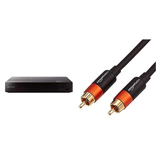 Sony BDP-S3700 Blu-ray-Player (Super WiFi, USB, Screen Mirroring) schwarz & Amazon Basics - Digitales Audiokabel / Koaxialkabel, 1,2 m