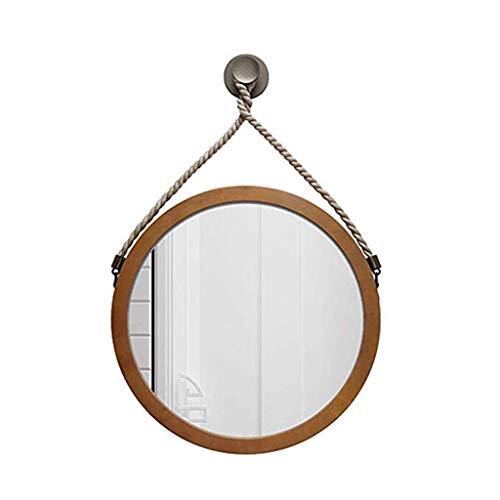 Zfggd miroir mural / Miroir de Maquillage pour Salle de Bain - Grand Miroir en Bois avec Cadre Rond - 40cm / 50cm / 60cm Miroir Mural décoratif en Verre (Color : Brown, Size : 40 * 40CM)