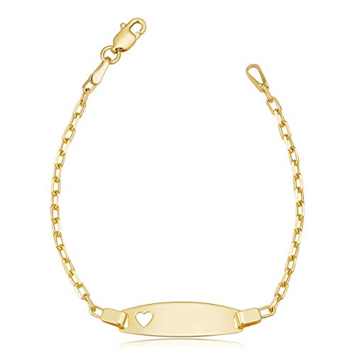 Kooljewelry 14k Yellow Gold Cable Link Baby ID Bracelet with Heart (5.5 inch)