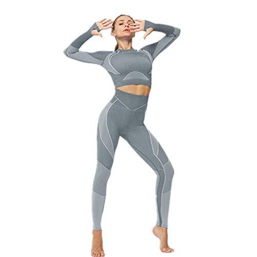 Dames Yoga Kleding Twee Stuks Set met Duim Gaten, Extra Elastische Naadloze Workout Outfits met Yoga Tops en Leggings voor Gym Running