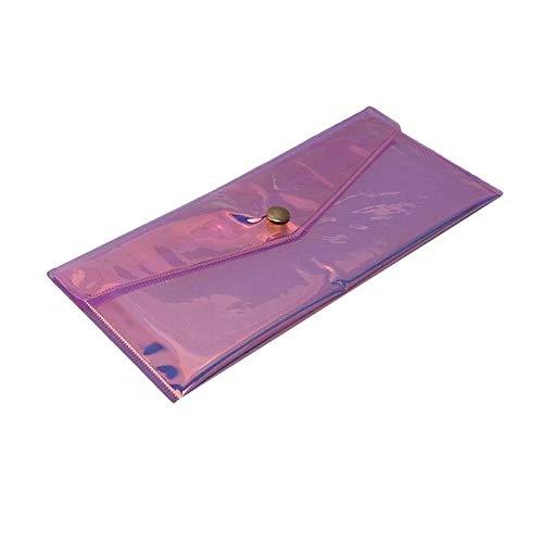 Bolsa de maquillaje transparente de color púrpura láser bolsa de viaje maquillaje caso de las mujeres cremallera maquillaje maquillaje organizador de baño bolsa de almacenamiento lavado Beaut kit
