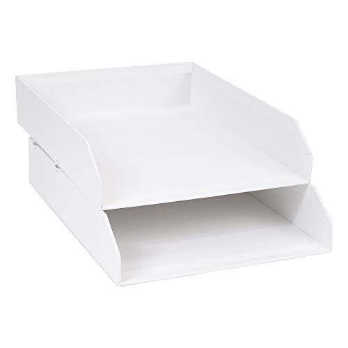 Bigso Box of Sweden 2er-Set Briefablage für den Schreibtisch – stapelbare Ablagefächer für Briefe, Dokumente usw, – Ordnungssystem aus Faserplatte mit Papier – weiß